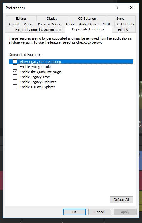 В Vegas Pro 17 не проигрываются MOV файлы