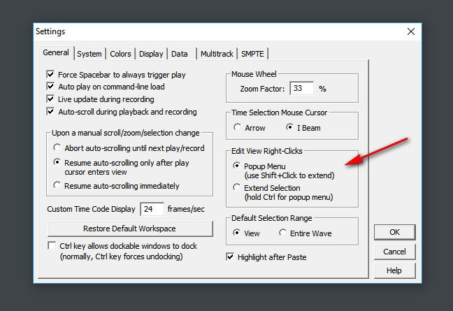 Настройки мышки в Adobe Audition 1.5